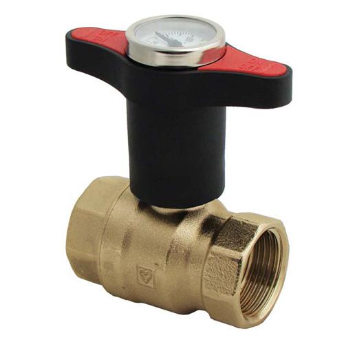 DZR Ball Valve  Extended Tee Handle Red Temperature Gauge UK Water Reg 4 Compliant