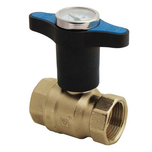 DZR Ball Valve Extended Tee Handle Blue Temperature Gauge UK Water Reg 4 Compliant
