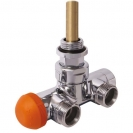 HERZ-VUA-50-Design, angle model for two-pipe system, chrome-plated with pre-setting and readout