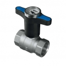 Ball valve with T-handle with thermometer (BLUE plastic), PN 25, socket x socket