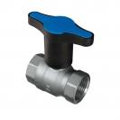 Ball valve with T-handle (BLUE plastic), PN 25, socket x socket