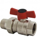 Ball valve with T-handle (alluminium alloy), PN 16, socket x Connection nipple