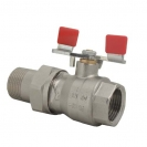Ball valve with T-handle (steel), PN 16, socket x connection nippl