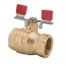 Ball valve with T-handle (steel, nickel-plated), PN 25, socket x socket