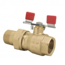 Ball valve with lever (steel), PN 16, socket x connection nipple