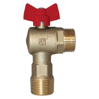Ball Valve, angle, red, for heating