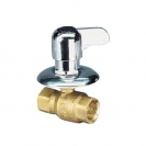 Ball valve for flush mounting with lever handle