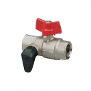 Ball valve with drain cock and T- handle