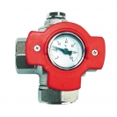 """HERZ-Multifunction Ball Valve with red """"T'' Handle and Thermometer 0–120 °C"""