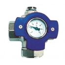 """HERZ-Multifunction Ball Valve with blue """"T'' Handle and Thermometer 0–120 °C"""