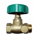 HERZ-Isolating valve, straight pattern with female x male thread without draining